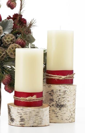 χριστουγεννιάτικη διακόσμηση με κορμούς δένδρων