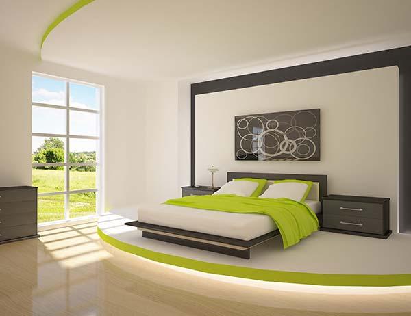 υπνοδωμάτιο σε πράσινο και μολυβί παλ χρώμα