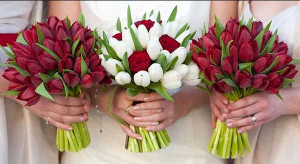 τουλίπα σε γαμήλια ανθοδέσμη